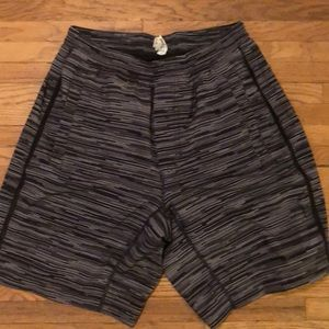 Black and gray stripped Lululemon shorts